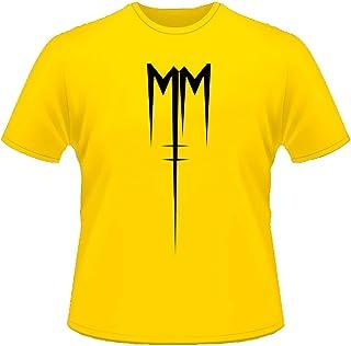 Mister Patch - Maglietta - T-Shir con Logo Marilyn Manson - 100% Cotone - Rossa Nera Gialla e Blu Royal