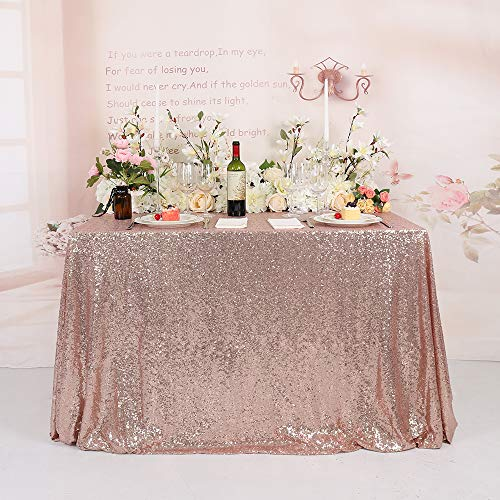 TRLYC RoseGoldSequinTablecloth 60x120inch Shimmer Rose Gold Tablecloth Rectangular Sequin Table Cloth for Party Birthday Wedding Baby Shower Valentine
