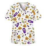 Kasack Pflege Damen V-Ausschnitt Schlupfhemd Berufskleidung Krankenpfleger Uniformen, Pflege Kittel OP-Kleidung Halloween Spaßdruck Bluse T-Shirt Schlupfkasack mit Taschen Kurzarm