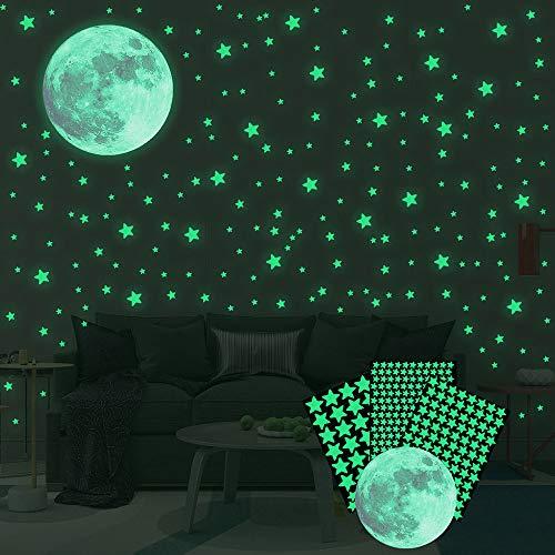 Ahsado Wandsticker selbstklebend Leuchtsticker Wandtattoo,334 pcs Leuchtsterne/Leuchtpunkte Mond für deinen Sternenhimmel und fluoreszierend Leuchtaufkleber für Kinderzimmer