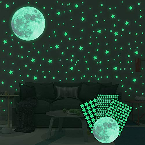 334pcs Glow in The Dark Stars Stickers, Luminous Stars and Moon Wall Stickers Decor for Kids Bedroom...