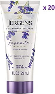 Jergens Lavender Body Butter Moisturizer, 20-pack, 1 Ounce Travel Lotion, with Essential Oil, for Indulgent Moisturization