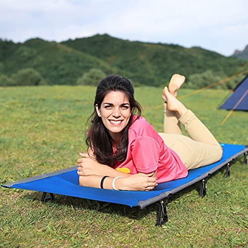 LANGWEI Cuna para Acampar Al Aire Libre, para Adultos, Portátil, Liviana, Plegable, con Almohada, Cama para Dormir con Marcos De Aleación De Aluminio para Viajes Al Aire Libre