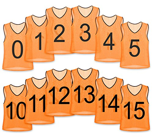 Unlimited Potential Nylon Mesh Numbered Scrimmage Team Practice Vests Pinnies Jerseys for Children Youth Sports Basketball, Soccer, Football, Volleyball (12 Pack, Orange Numbered, Youth)