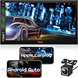 Double Din Car Stereo Compatible with Apple CarPlay & Android Auto,MP5 Player with Bluetooth Rear View Camera, Mirror Link, USB/AUX Input (Model 8)