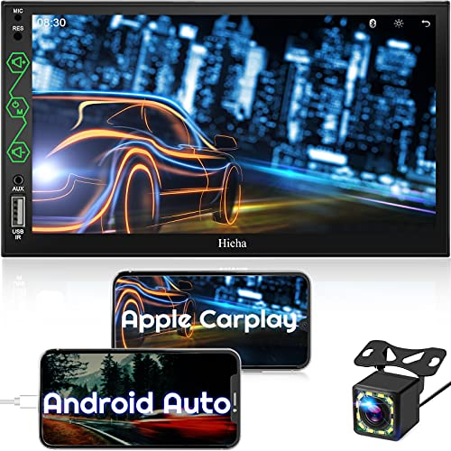 Double Din Radio Compatible with Apple Carplay & Android Auto, 7 InchesTouchscreen Car Stereo with Bluetooth, AM/FM Audio Receiver, Backup Camera, Voice Control, Mirror Link