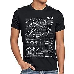 style3 X-Wing Cianotipo Camiseta para Hombre T-Shirt Fotocalco Azul t-65