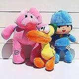 QIERK Pocoyo Elly Pato, 3 muñecos de Peluche, Peluches, Peluches, Peluches de 23 a 30 Cm