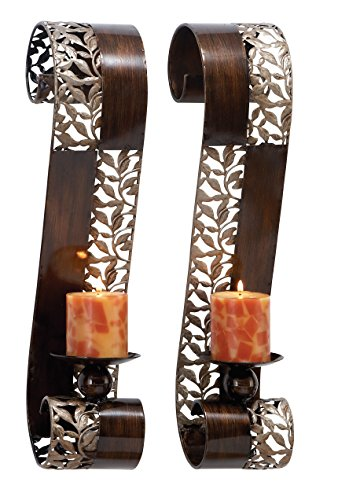 Deco 79 Metal Candle Sconce Set of 2, 21'H x 4'W