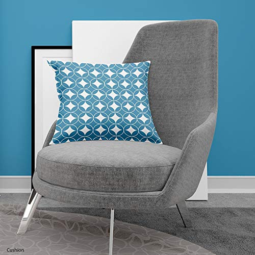Jennifer Davidson Diamond Circle Cushion Blue White Circle 3D Design Digital Print By UK Made (18''x 18'')