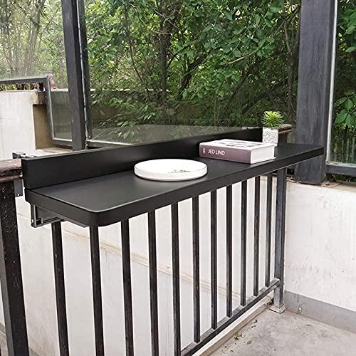 Mesa de pared plegable para exteriores, Mesas laterales de barra de barandilla montadas en la pared para colgar en el balcón, Mesa de jardín de patio con terraza ajustable, Estante de mostrador