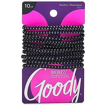 GOODY Hair SlideProof Hair Tie Elastics 4mm Black 10 Count
