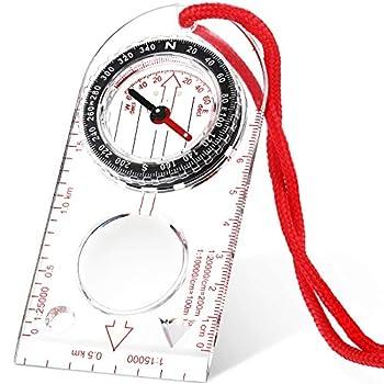 Skylety Boussole de Navigation Boussole d'Orientation Boussole de Scout Garçon Boussole de Randonnée avec Déclinaison Ajustable pour Lecture de la Carte d'Expédition, Navigation (11,5 x 5,5 cm)