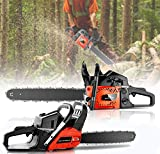 KGK Gas Chainsaw 20 Inch 62CC Chainsaw Gas Powered Petrol Chainsaw 58CC Cordless Chainsaw 2 Stroke with 2 Chains,Tool Kit, 20' Chainsaw for Farm,Garden,Ranch Red Power Chain Saws for Cutting Wood