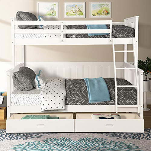 SOFTSEA Twin Over Full Bunk Bed with Two Storage Drawers and Ladder, Wooden Bunk Bed Frame Kid's Bedroom Furniture (White)