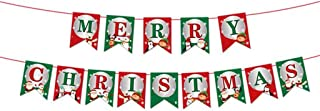 Merry Christmas Banner Decorations Kit, DELIKANG Bunting Banner/Xmas Pennant Flag/Hanging Garland Banner Decor for Fireplace,Wonderland Winter,New Year,Holiday Party,Indoor,Home Decor (B)