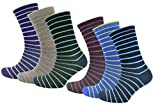 RJM 6er Pack Cotton-Rich Herren mehrfarbig gestreifte Socken