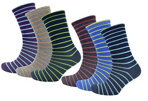 RJM 6er Pack Cotton-Rich Herren mehrfarbig gestreifte Socken 41-46