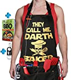 Famgem Kitchen Aprons Darth Baker for Womens - Professional Grade Mens BBQ Chef Apron for Mom with 5 Pockets 1Pen Holder / 2 Towel Loop / 100% Cotton