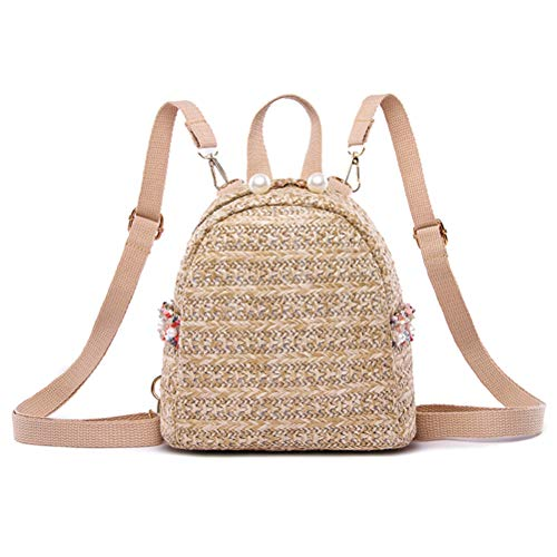 Parkomm Straw Backpack, Women Pearl Vine Grass Weaving Casual Backpack, Large Capacity Bag Beach Backpack