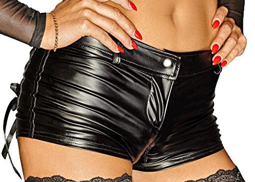 Noir Handmade Schwarze Damen Dessous Wetlook Shorts mit Reißverschluss Kurze Hose 4XL