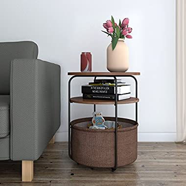 Lifewit 3-tier Round Medium Side Table End Table Nightstand with Storage Basket, Modern Collection Espresso,