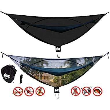 Chill Gorilla OH HELL NO! 11' BUG NET Stops Mosquitoes, No See Ums & Repels Insects. Fits ALL Camping Hammocks. Compact, Lightweight. Size 132  x 51 . Essential Backpacking Jungle Gear. Eno Accessory