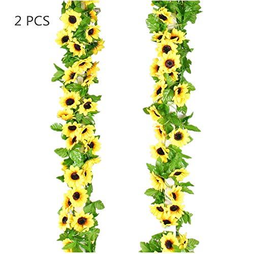 Easytogoo Künstliche Sonnenblumen-Girlande, künstliche Seidenranke mit grünen Blättern, Hochzeitsdekoration 2 Stück.