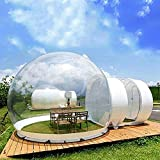 3M Inflatable Commercial Grade Two Room PVC Clear Eco Dome Bubble Tent House for Outdoor with Quiet Air Blower