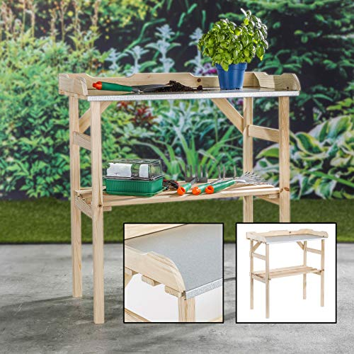 Unibos Potting Table Bench Outdoor Garden Table For Potting Plants, Wooden With Metal Zinc Table Top & Shelf, H82 X W78cm X D38cm