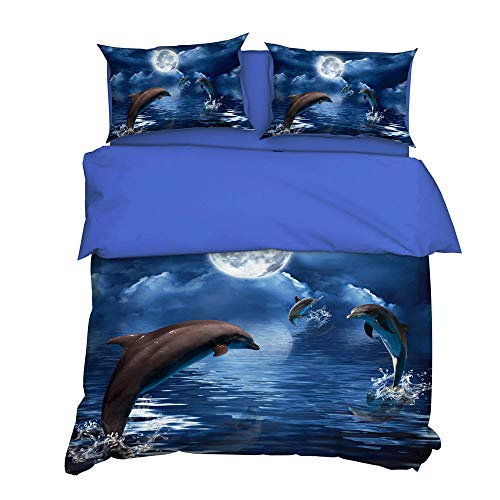 Delfín Azul Marino Juego de Funda nórdica de la Ropa de Cama 140x200cm Microfibra 3 Piezas Juego de Funda Contiene 2 Fundas de Almohada 50x75 cm