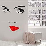 Hermosa Chica Moda Mujer Cara Etiqueta de la Pared Vinilo decoración del hogar Dormitorio salón de Belleza Aplique pestañas Labios maquillaje-42X42cm