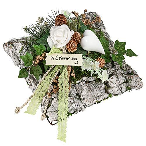 Dehner Grabgesteck Simone, handgefertigt, ca. 28 cm, Naturmaterialien, braun/grün/weiß