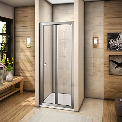 Mamparas de baño plegable puerta de ducha vidrio templado 100x185cm