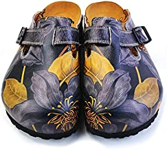 Goby Navy Blue Floral Clogs CAL372
