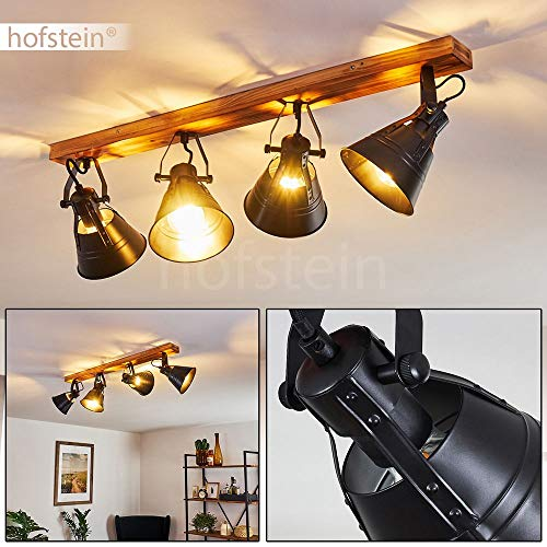 Deckenleuchte Berkeley, verstellbare Deckenlampe aus Metall/Holz in Schwarz/Braun, 4-flammig, Lampenschirme dreh- u. schwenkbar, 4 x E27-Fassung, max. 60 Watt, Spot im Retro Design, LED geeignet