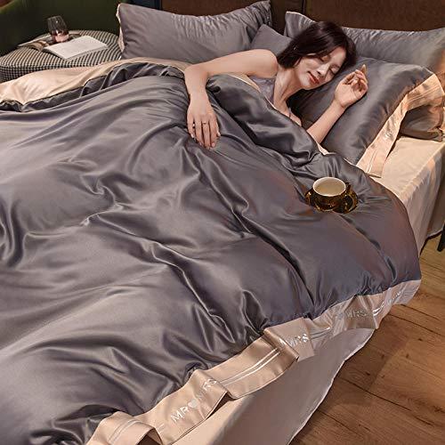 funda nordica cama 90,Lecho de seda de hielo de verano, conjunto de cuatro piezas, satén de seda, enfriamiento de la cama, cama, cama individual, familia y amigos, regalo del día de la madre-C_Cama d