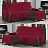 Banzaii Funda de Sofá Cubre Chaise Longue Acolchada Lisa 3 Plazas (240 cm) con Chaise Longue Izquierda/Derecha Burdeos