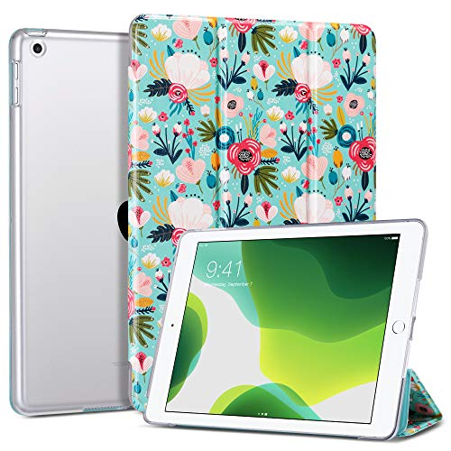 ULAK iPad 9.7 inch 2018/2017 Case, Slim Lightweight Smart Case with Auto Wake & Sleep Function Translucent Stand Cover Case for Apple iPad 9.7 5th/6th Generation - Colorful Flower