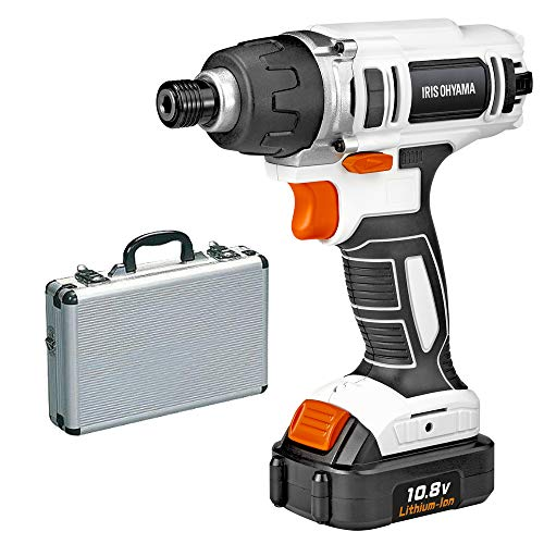 アイリスオーヤマ 電動インパクトドライバー ケースセット 充電式 JID80 コードレス LEDライト バッテリー,ACアダプター,充電器,ビットセット10種,アルミケース AM-10