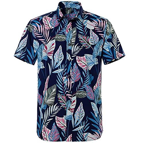 SSBZYES Camisas De Hombre Camisas De Verano De Manga Corta para Hombre Camisas De Manga Corta con Estampado Hawaiano De Algodón Puro Camisas De Playa para Hombre Camisetas para Hombre Tops