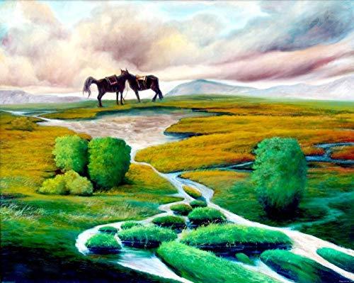 Houten Puzzel - Landschapspuzzel Van 1000 Stukjes Voor Volwassenen, Prairie Rivier En Paard, Woonkamer Slaapkamer Keuken Gang Huis Muurschildering Decoratie Schilderen