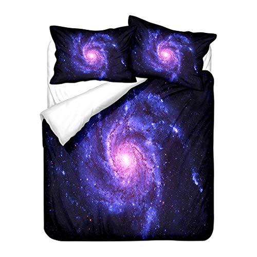Blu Viola Galassia Set Biancheria da Letto 3D Stellato Vortice Nebulosa Modello Copripiumino e Federa Bambini Ragazzi Ragazze Morbido Anti Rughe (Nebula 5, 240x220 cm)