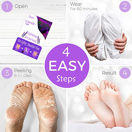 Dr. Entre's Exfoliating Foot Peel | 2 Pairs | Natural Exfoliant for Smooth Baby Soft Feet, Dry Dead Skin Treatment, Repair Rough Heels, Callus Remover Sock Booties (Lavender, 2 Pairs)