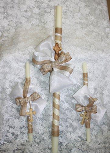 FavorOnline Natural Burlap Greek Candles Wedding/Baptism Lambathes or Lambades Candles - Set of 3 Lambatha/Lambada Candles