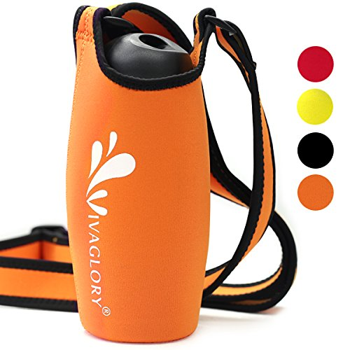 VIVAGLORY Neoprene Water Bottle Holder with Wide Adjustable Shoulder Strap, Fits Bottle with Diameter in 8.1-10 CM, Orange