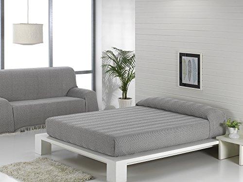 Texturas VIP - Colcha Multiusos ZIG-Zag Sofá y Cama Low Cost (Varios tamaños Disponibles) (125_x_180_cm, Gris-Negro)