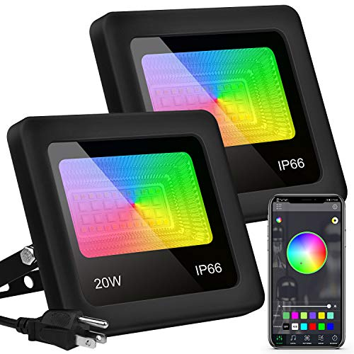 Remon Led Flood Lights Rgb Color Changing Led Stage Landscape Lighting Outdoor, 20W Bluetooth Smart Floodlights Rgbw App Control, 2700K Warm White & 5700K White & 16 Million Colors & 20 Modes & Timing