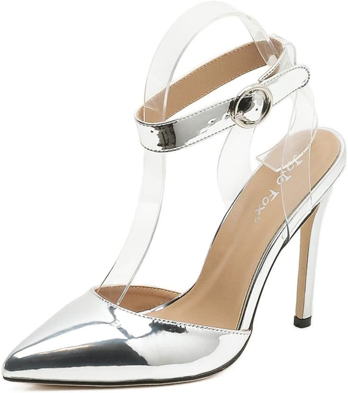 Donna Sexy seali Stiletto alto Tacco singolo Sautope appuntito Dito del piede Caviglia Cinghia Fibbia Trasparente oro argentoo Festa Vestito Discoteca , EUR 39  UK 6-6.5