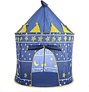 Play Tent Foldable Tipi Prince Folding Tent Children Boy Castle Cubby Play House Kids Gifts Outdoor Toy Tents-blue